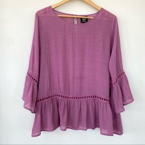 Bobeau loose fitting top with bell sleeves